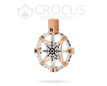 мужской золотой подвес компас от CROCUS 2105