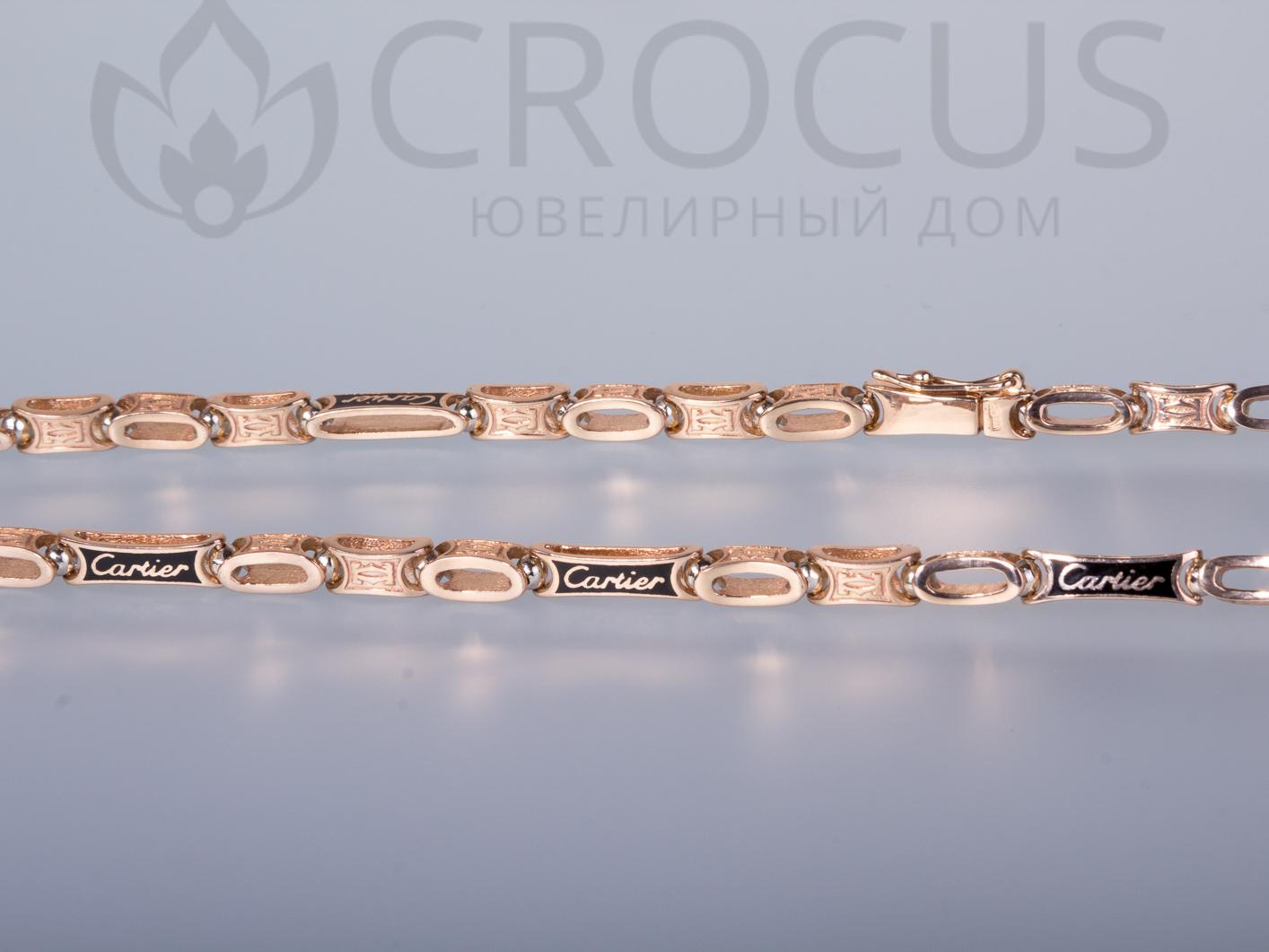 Эксклюзивная золотая цепь Cartier 0001 ювелирная эмаль 16a25ed0ac800