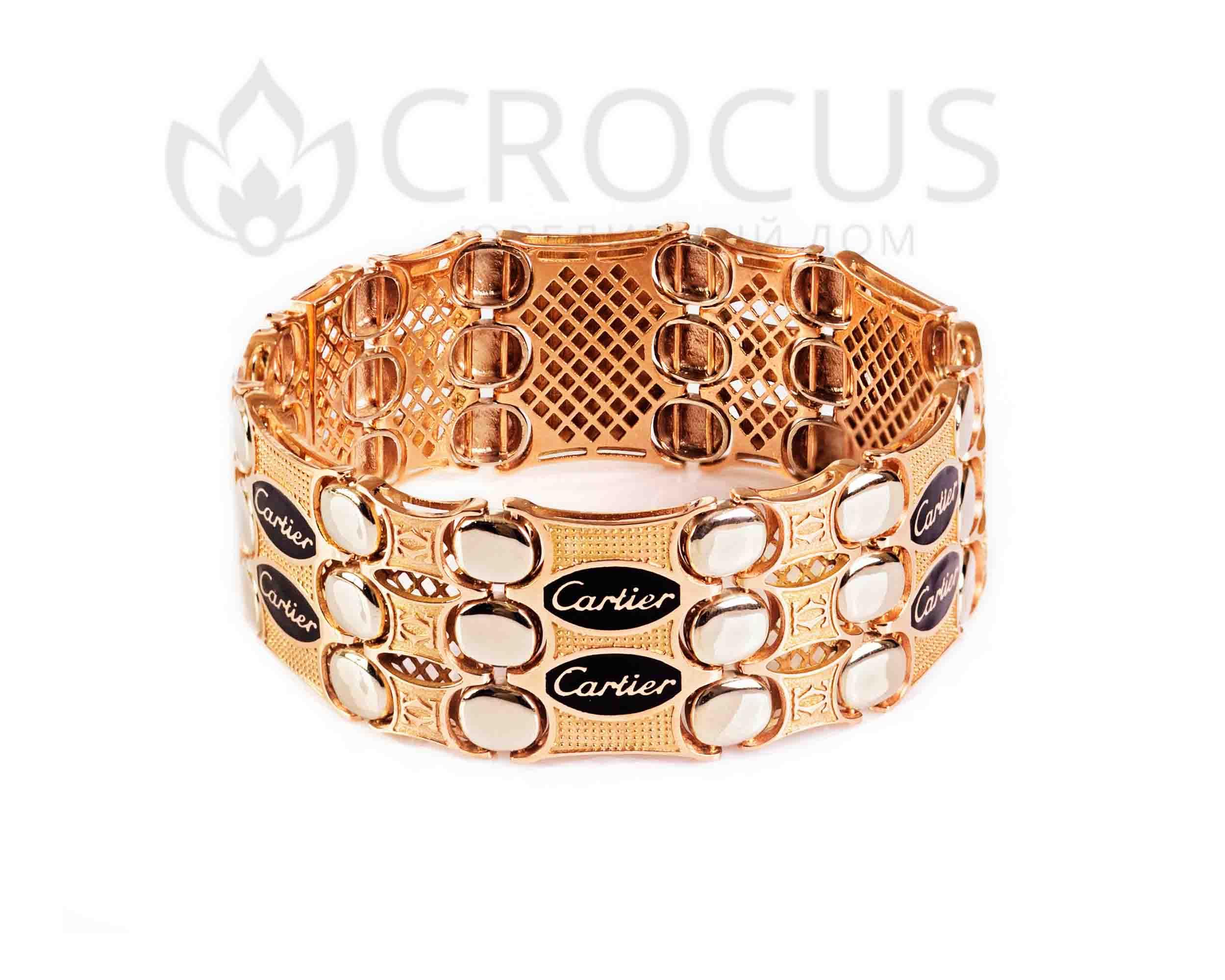 Массивный золотой браслет Cartier тройной