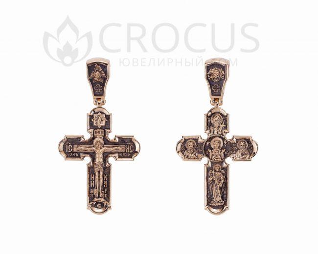Крестик золотой православный Серафим