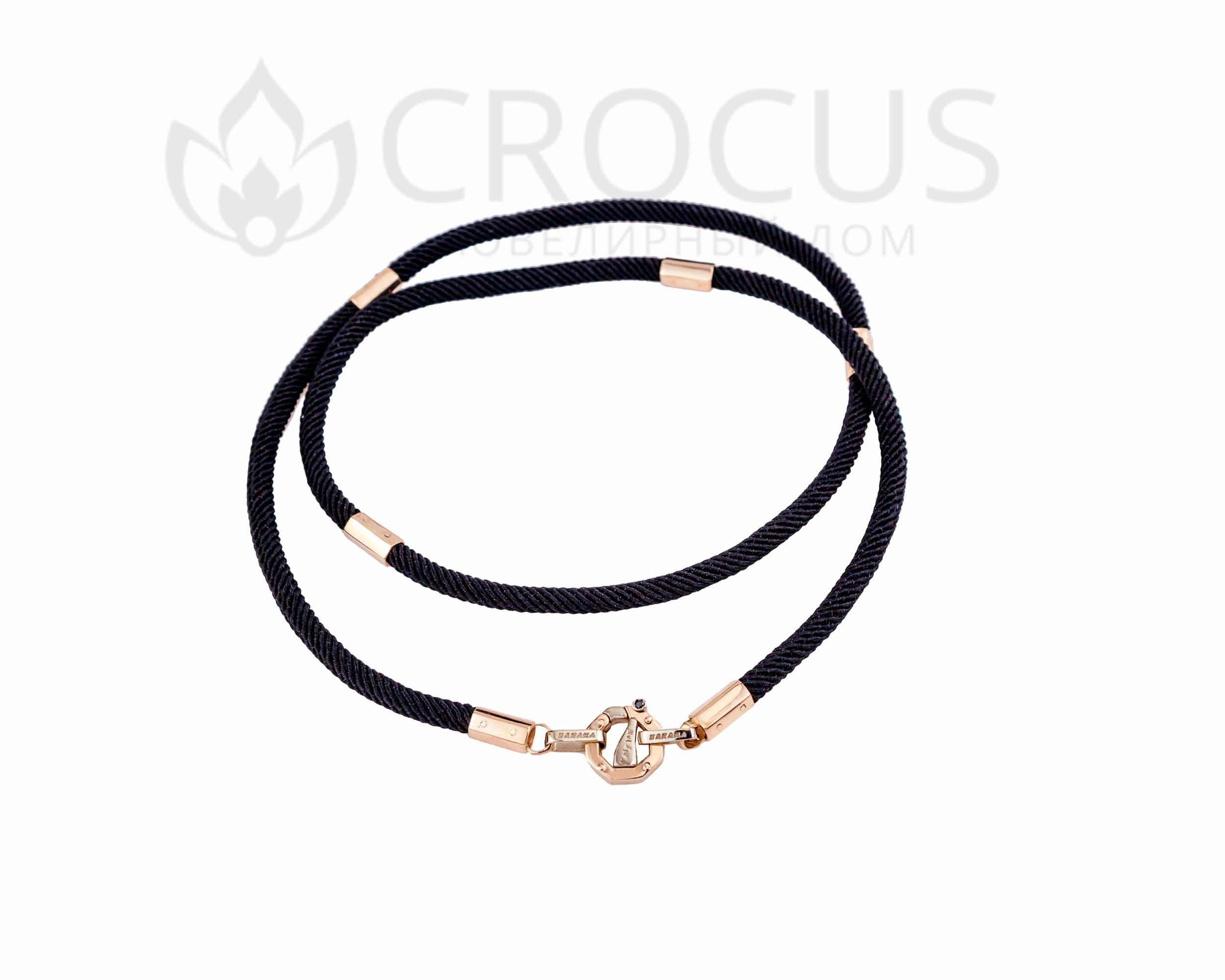 шелковый шнурок на шею с золотом Baraka