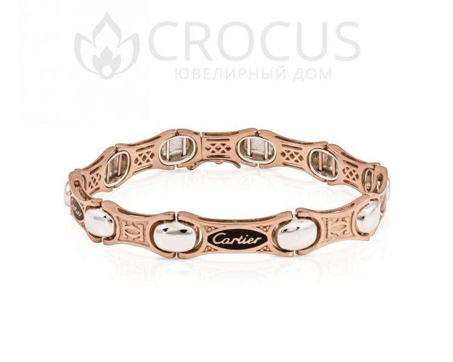 Золотой браслет с эмалью в стиле Cartier