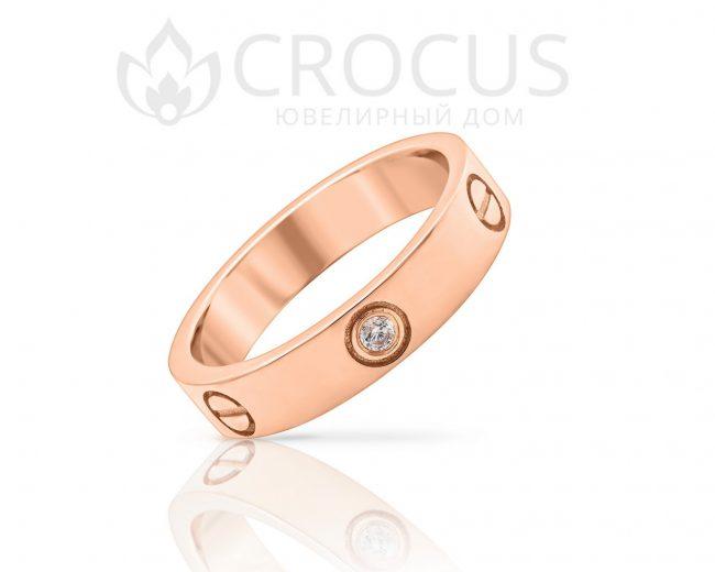 кольцо cartier love 1003 красное золото 585