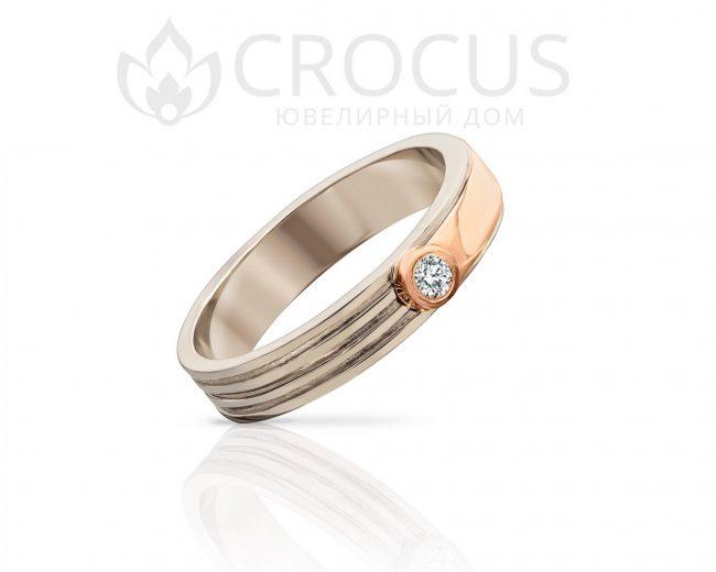Золотое кольцо из белого золота от CROCUS 1008