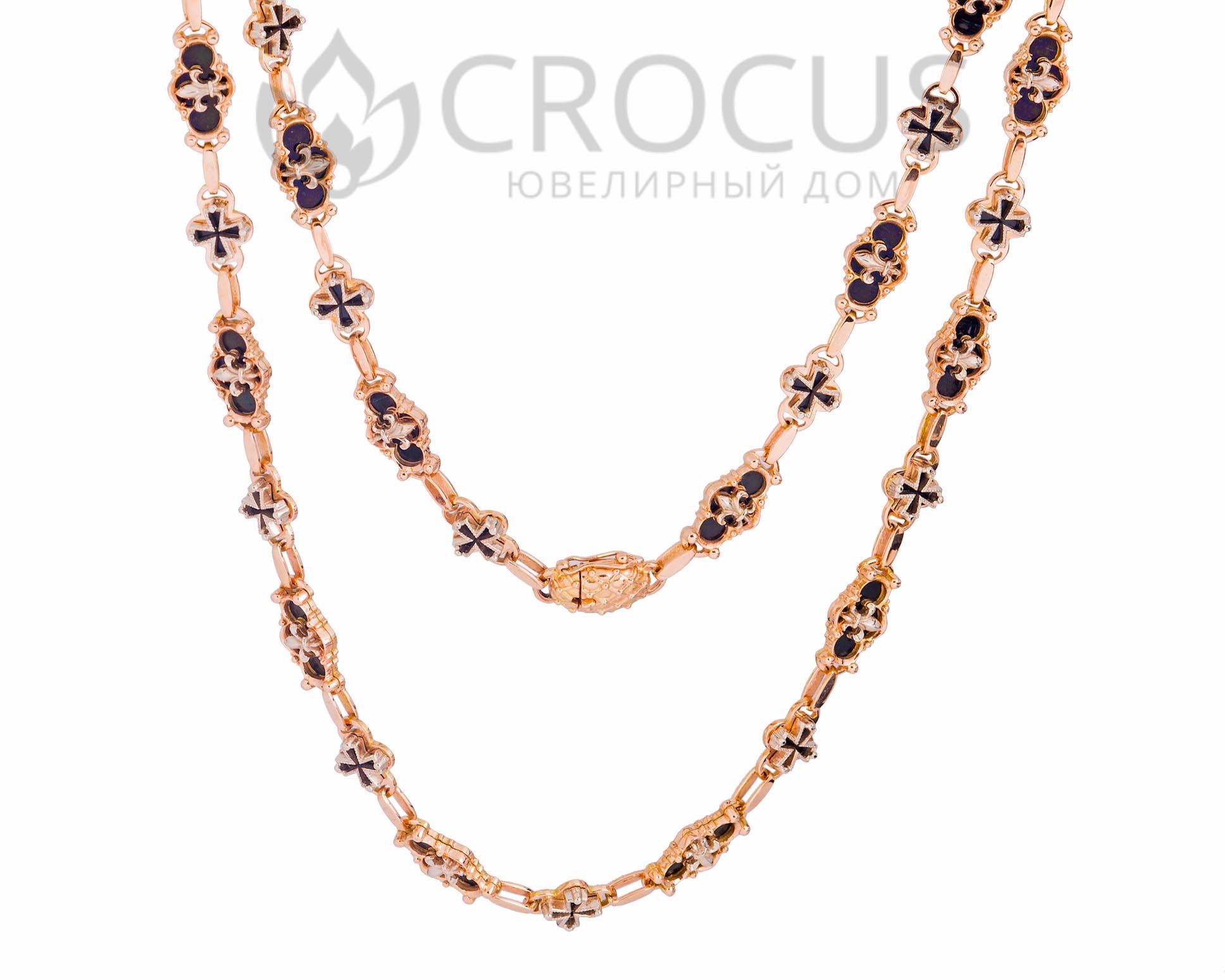Женская золотая цепочка - колье Faberge (реплика) арт.0025