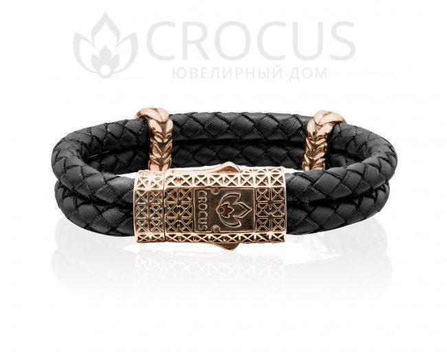 Золотой браслет CROCUS плетенная кожа