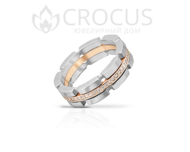 Купить золотое кольцо с фианитами CROCUS 1018-2