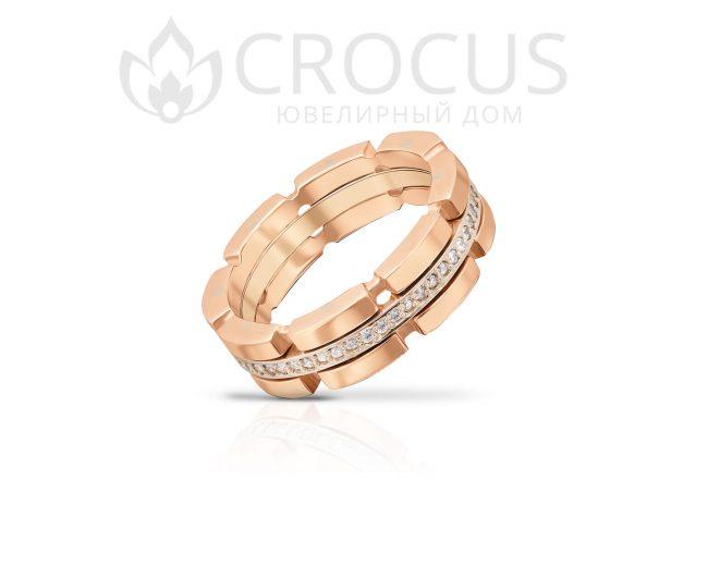 Купить золотое кольцо с фианитами CROCUS 1018-4